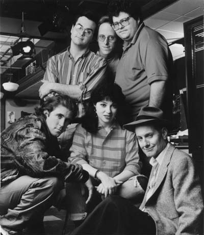 Clockwise from top left, Steve Higgins, Gruber and Dave Higgins (The Higgins Boys & Gruber), Tommy Sledge, Rachel Sweet and Allan Havey are hosts of regularly scheduled weekday programs on The Comedy Channel.